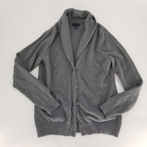 Tommy Hilfiger Cardigan Gray L Button Up Cowl Neck